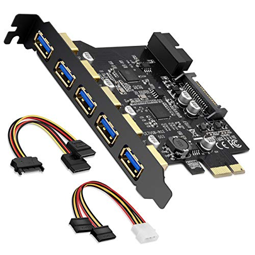 BEYIMEI PCI-E Expansion Card Adapter 5 USB 3.0 Ports, PCI-Express Card with 5 External Ports, 1 Internal 20-Pin Header,15-Pin Power Connector, Compatible with Windows XP/Vista / 7/8/10