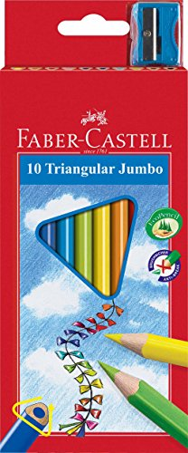 Lápices de colores Jumbo triangulares con Afilador (Pack de 10)
