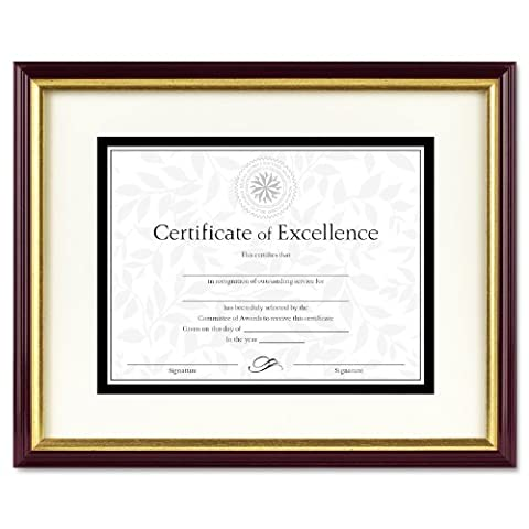 Document/Certificate Frame w/Mat, Laminated Wood, 11 x 14, Mahogany/Gold