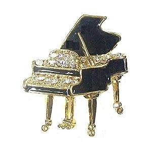 Brosche, Klavier-Motiv, goldfarben, Kristall, Schwarz
