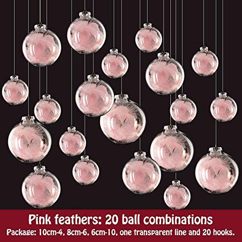 20 pezzi palline per albero di natale, morbuy palla trasparente piuma palle di natale in plastica scatola porta applique ornamenti festa decorazioni natalizie albero palle per matrimoni (rosa)