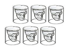 Idea Regalo - 6 bicchierini da liquore con disegno di teschio, da shot, per vodka o liquori, in vetro, 6 Schnapsgläser 25 ml