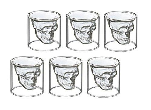 FuKiPro Funky Kitchen Products 6X Totenkopf Schnapsglas Schädel Skull Head Shot Totenkopf Vodka Schnaps Glas Stamper (25 ml)