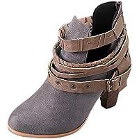 WWricotta Damen Stiefeletten Chelsea Boots mit Blockabsatz Profilsohle Kurzschaft Stiefel Freizeitschuhe Gürtelschnalle... preisvergleich bei billige-tabletten.eu