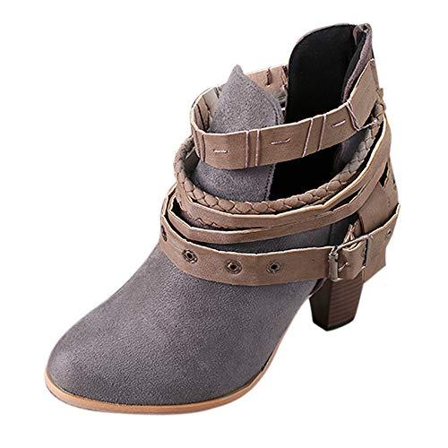 WWricotta Damen Stiefeletten Chelsea Boots mit Blockabsatz Profilsohle Kurzschaft Stiefel Freizeitschuhe Gürtelschnalle Schuhe Martin Stiefel Ankle Boots
