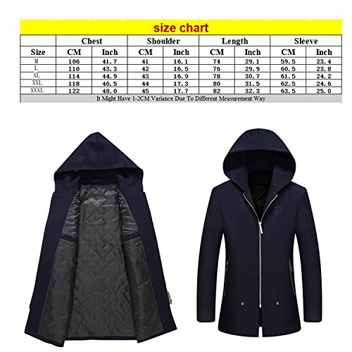 Zhuhaitf Fashion Casual Mens Thick Warm Hooded Woolen Coats Autumn Winter Outerwear MID-LONG Coats Wine Red