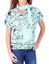 Madonna T-Shirt Damen VERENNA Oversize Allover Print Shirt mit Halstuch MF-741144