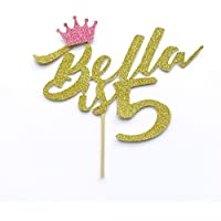 "Custom Cake Topper ""Birthday Name is Any Age"" Birthday Princess Personalised Crown Cake Topper Party Decoration with Added Crown in Hot Pink.5 Years Old.Cake Decoration. All Glitter Colours including Rose Gold"