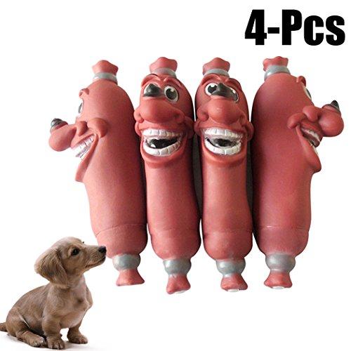 Legendog 4PCS Haustier Quietschend Spielzeug Beißen Beständig Wurst Interaktiv Haustier Kauen Spielzeug Klingen Spielzeug Hund Abspielen - Wurst Hunde Kostüm