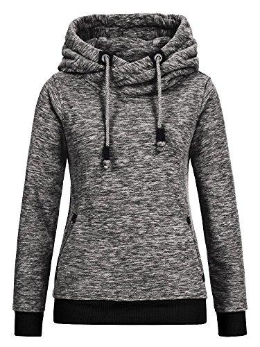 Sublevel Damen Fleece Hoodie LSL-250 meliert middle grey XS