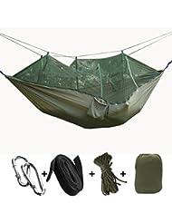 Hamac Moustiquaire de Camping Voyage Ultra-léger - ECOMBOS Double Hamac en Tissu 200kg Charge,(260 x 130cm) Parachute pour Voyage en Plein Air Intérieur Hiking Jardin Randonnée
