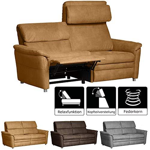 Cavadore 3-Sitzer Sofa Chalsay inkl. verstellbarem Kopfteil und Relaxfunktion / mit Federkern / 3er Kino-Couch für Heimkino im modernen Design / Größe: 179 x 94 x 92 cm (BxHxT) / Farbe: Hellbraun (mustard)