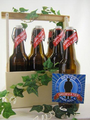 6er Bierträger aus Holz Spruch Opa