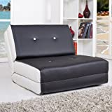 NEG Design Schlafsofa SELENE (schwarz/weiß) Sessel mit Napalon-Leder-Bezug Klappsessel, 1-Sitzer, Liegefläche 212x74cm, sehr bequem
