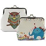 Oyachic 2 Packs Poche Coin Hibou Mignon Motif Fermoir Clutch Embrayage Sac Cadeau (2 Packs Éléphant Vintage et Hibou)