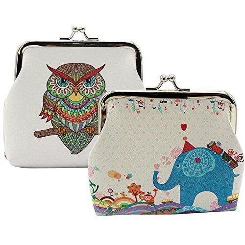 Oyachic 2 Paquetes Monedero Lindo Patrón de Búho Cierre de Corchete Monedero Embrague Bolsa de Regalo (2 Piezas Elefante + búho Retro)