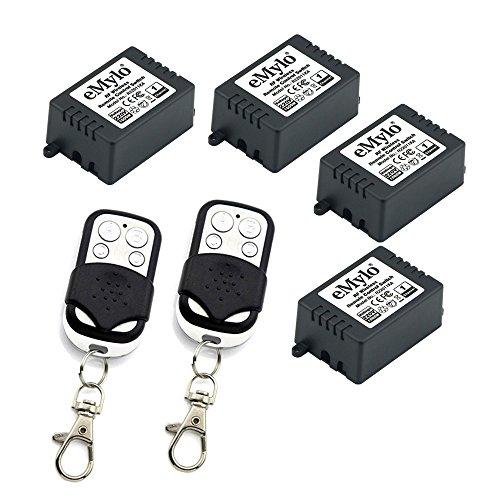 eMylo One Transmitter 4 x 1 Kanal Relais RF AC 220V-230V-240V 1000W smart Wireless Fernbedienung Schalter schwarz & weiß Farbe Transmitter Wireless Sensor Transmitter