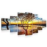 Startonight Leinwandbilder Großformatige Kunst Sonnenuntergang auf dem See, Doppelansicht Modernes Dekor Gerahmte Kunstwerk 100% Ursprünglich Fertig zum Aufhängen XXL 7 Teile 100 x 240 cm
