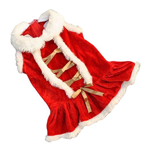 CricTeQleap Haustier Weihnachten rotes Kleid Süßer Welpe Winter Kleidung weich warme Kostüm Weihnachten Hund Bekleidung Kawaii Red L
