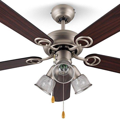 Klarstein Charleston Retro-Design Holz Deckenventilator Ventilator mit Licht (122cm 3er Holzflügel-Rotorbaltt, 60W, Walnussholzfurnier-Propeller, Edelstahl-Corpus, 3-flammige Deckenleuchte) silber-braun -