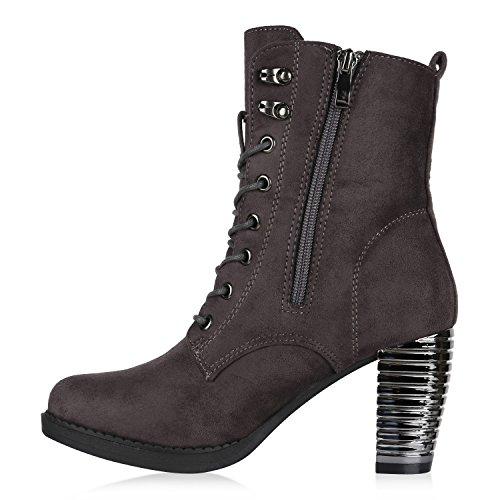 Damen Schnürstiefeletten Leicht Gefütterte Stiefeletten Worker Boots Wildleder-Optik Halbhohe Stiefel Booties Schnürer Blockabsatz Schuhe Wildleder-Optik Flandell Grau Lack
