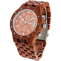 Bewell Wooden Watch for Men Multi Dial Quartz Wrist Watches, 30M Waterproof, Red Sandalwood by Funkytop