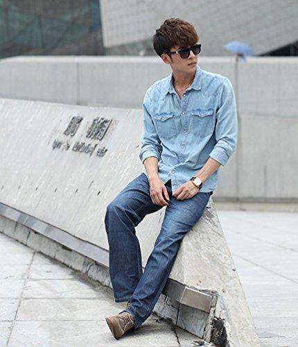 NiSeng Uomo Denim Jeans Mode Loose Fit Jeans Casuale Baggy Jeans Cowboy Pantaloni Mid Blu Stile Sottile