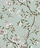 bloomingwall 1143Vintage elegantes Blumenmuster Tapeten für Wände Wand Papier Rolle Wand Wandbild für Wohnzimmer Küche, 52,8x 1.000cm blau/violett/grün