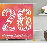 HOJJP 26th Birthday Decorations Shower Curtain, Unique Victorian Style Leaf tured Number Aging Print, Fabric Bathroom Decor Set with Hooks, 60W X 72L Inche Long, Dark Coral White