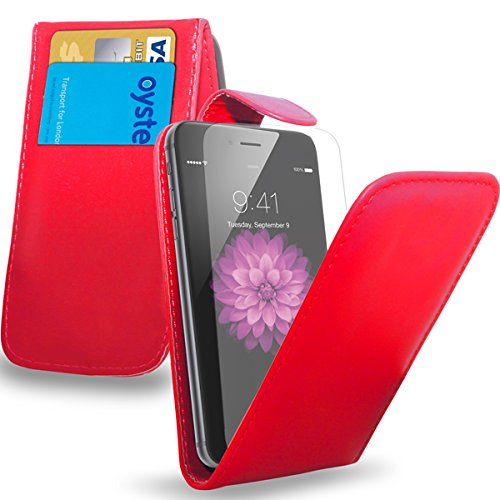Apple iPhone 6S Plus - Leder-Schlag-Fall-Abdeckungs-Beutel + Mini Stylus Pen + Screen Protector & Poliertuch (schwarz) Red