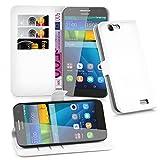 Cadorabo - Custodia a Libro per Huawei G7, con Scomparto per Carte di Credito e Funzione leggio, Colore Bianco Artico