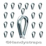 20 x 6mm Galvanised Steel Wire Rope Thimbles for 6mm wire rope Free postage