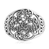 AMDXD Echtschmuck 925 Silber Ring Herren Vintage Hohl Knoten Stricken Silber Größe 61 (19.4)