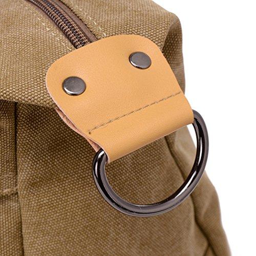 ZKOO Damen Canvas Lässige Umhängetasche Schultertasche Tragetasche Grosse Kapazität Computer Handtasche Schule Tasche Khaki