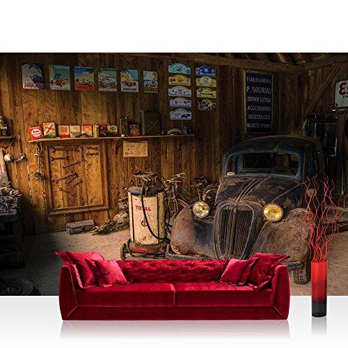 Vlies Fototapete 312x219cm PREMIUM PLUS Wand Foto Tapete Wand Bild Vliestapete - Sonstiges Tapete Werkstatt Oldtimer Vintage restaurieren natural - no. 3360