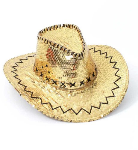 FASCHING 38563 Party Cowboyhut gold Cowboy Hut Pailletten NEU/OVP
