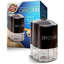 OfficePro eléctrico Sacapuntas, hoja de acero en espiral afila todos los lápices, color, función de parada automática de seguridad, pilas incluidas