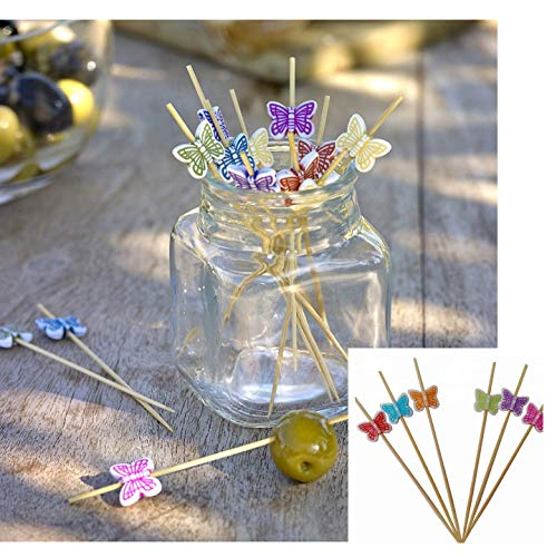 TIIPLII 100 Stück Schmetterling 12 cm Cocktail Sticks für Partys, Lebensmittel, Desserts, Kuchen, Salate, Gemüse und Cocktails