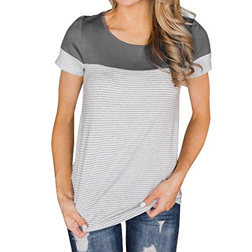 TWIFER Sommer Damen Beiläufig T-Shirt Rundhals Gestreifte Splice Kurzarm Bluse Top Tee Shirts