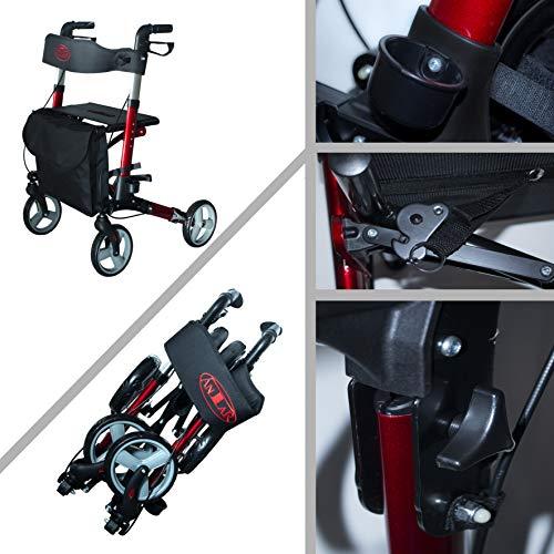 Premium Alu-Rollator Set, Leichtgewicht-Reiserollator mit Vollausstattung, 3-fach faltbar für Kofferraum, Reise und