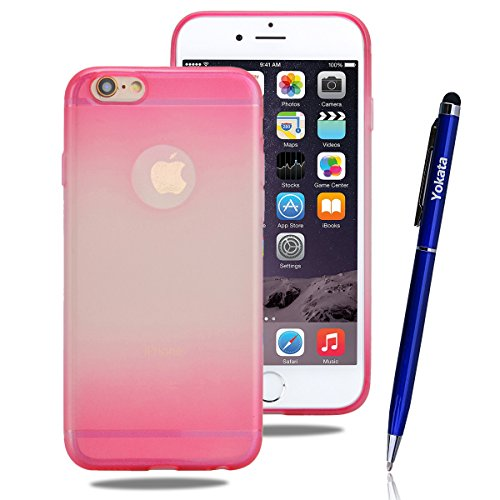 iPhone 6 / iPhone 6s Hülle, Yokata Matte Gradient Jelly Weich Klar Transparent Silikon Gel Case Ultra Slim Cover Anti-Fingerprint Schutzhülle Sehr Dünn Handyhülle - Lila Rosa