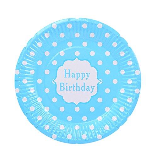 (Hacoly 6er rund Pappteller bunt Wellenpunkt einweggeschirr hochwertig Einwegteller Papierbesteck umweltfreundlich biologisch abbaubar kompostierbar happy birthday für kindergeburtstag - 7 Zoll Blau)