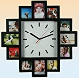 Tawo Foto Wanduhr Foto Galerieuhr für 12 Bilder mit Uhr mit schwarzen Bilderrahmen