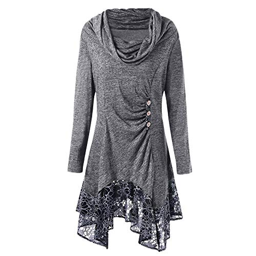 Btruely Pullover Damen Winter Herbst Spitze Langarmshirt Groß Größe Sweatshirt Frauen Oberteile Loose Fit T-Shirt Lange Unregelmäßiges Minikleid