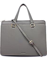 BOVARI sac à main sac porté épaule Victoria - cuir de veau à imprimé saffiano - 39x29x13cm - gris