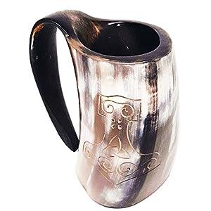 Taza pulida de la Mano de Thor grabada a mano XL: taza de 15cm (6pulg.) elaborada a mano de estilo de Juego de Tronos. Taza vikinga para utilizar como jarra de cerveza o vino de 0,8l (28onzas) 7