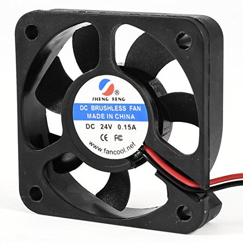 Water & Wood 50mm x 10mm 2Pin 7 Blades DC 24V 0.15A Brushless Cooling Fan Black (Brushless Fan Motor Dc)
