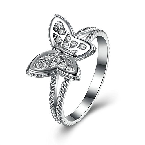 AieniD Silver Ring for Women Silver Butterfly Gem Size20