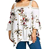 OverDose Damen Große Größe Sommer Frauen Schulterfrei Spitze Blumendruck Shirt Chiffon Tops Bluse(Weiß,5XL)
