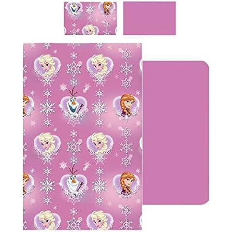 completo letto lenzuola singolo FROZEN DISNEY rosa sopra sotto e federa 100% cotone